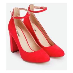 Justfab Pumps Joselyn ($40) ❤ liked on Polyvore featuring shoes, pumps, red, block heel pumps, red pumps, high heeled footwear, red strap pumps and strap pumps
