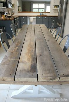 Well….my husband built another dining room table. It's been over two years since he built the last one and I think he was starting to get a twitch. A table building twitch (or a lack of…
