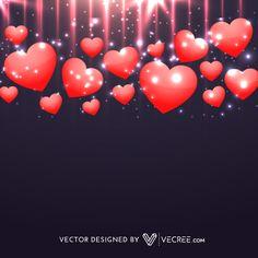 Valentines Day Hearts With Dark Background Free Vector - https://vecree.com/6361736/valentines-day-hearts-with-dark-background-free-vector/