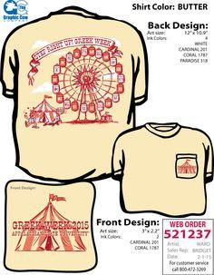 Carnival-themed Greek Week t-shirt.