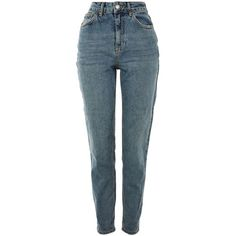 Topshop Moto Vintage Blue Mom Jeans ($52) ❤ liked on Polyvore featuring jeans, topshop, blue jeans and vintage jeans