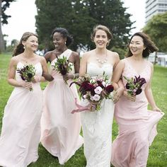 Blush bridesmaid dresses.   #wedding Blush Bridesmaid Dresses, Wedding Dresses, Chiffon Dress, Lace Dress, Designer Wedding Gowns, Mermaid Skirt, Bridal Suite, Wedding Dress Shopping, Lace Bodice