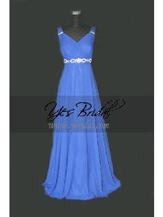 Empire V-neck Ankle-length Chiffon Plus Size Prom Evening Dress SEM0069
