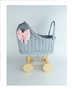 Wiklibox wicker & alder wood doll stroller in GRAY colour with soft muslin bedding. Available many colours. Baby walker by WIKLIBOX on Etsy Dolls Prams, Wicker, Little Girls, Bedding, Colours, Paint, Gray, Wood, Unique Jewelry