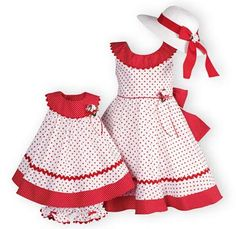 Perfect for twirling on those warm summer days. Lovely white cotton poplin dresses with red polka dot print. Wide red and white polka dot necklines an Girls Spring Dresses, Girls Easter Dresses, Cute Girl Dresses, Little Girl Dresses, Kids Frocks, Frocks For Girls, Toddler Fashion, Fashion Kids, Girl Dress Patterns