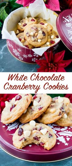 Creamy white chocolate, tangy dried cranberries and a touch of orange zest all wrapped up in a soft and chewy cookie! #cranberrycookies #whitechocolatecookies #Christmascookies