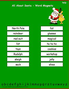 Christmas All About Santa vocabulary words, interactive word magnet game, vocabulary magnet games, arrange the magnets in alphabetical order.