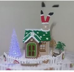 Villas, Christmas Village Houses, Xmas, Christmas Ornaments, Gingerbread, Holiday Decor, Crochet, Home Decor, Papa Noel