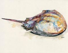 "Horseshoe Crab - Print from Original Watercolor Painting, ""Horseshoe Crab"", Beach Decor"