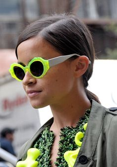 Make some knock off designer inspired neon sunglasses with nail polish!