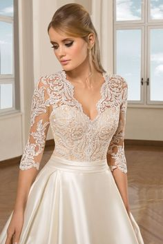 Elegant Ivory Satin A Line Wedding Dresses 2019 Simple Sweep Train Plus Size Bridal Gowns Custom V Neck Lace Long Sleeves Wedding Gowns wedding stuff Civil Wedding Dresses, Wedding Gowns With Sleeves, Wedding Dress Trends, Long Sleeve Wedding, Princess Wedding Dresses, Dress Wedding, Demetrios Wedding Dresses, Elegant Dresses For Wedding, Lace Wedding