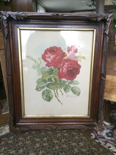 Victorian Eastlake Carved Bark with Leaves Walnut Picture Frame with Rose Print | eBay