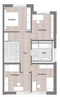 Doppelhaushälfte - Typ B - Obergeschoss  69,19 m²
