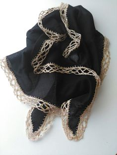 Black Scarf,  Black Cotton Scarf,  Lace and Sequin handlework Scarf,  Authentic scarf,HandmadebyNadya