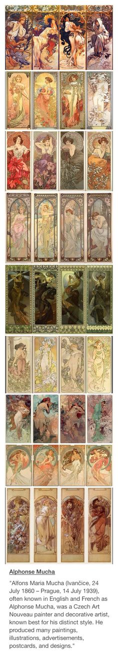 "Alphonse Mucha -- ""King of Art Nouveau"" - This features 9 sets of Series, 4 pieces in each. He seemingly told stories through his art, which is very beautiful, very intriguing, & rather educational. Alphonse Mucha Art, Art Nouveau Mucha, Art Nouveau Tattoo, Art Nouveau Flowers, Art Nouveau Poster, Art Nouveau Design, Jugendstil Design, Wow Art, Klimt"