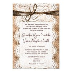 #SOLD Rustic Country Burlap Lace Twine Wedding Invites on #Zazzle