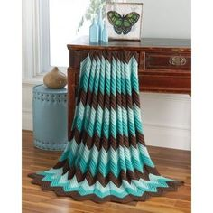 Ripple Throw Seafoam - Knit or crochet this timeless throw in our fresh color combinations. Makes a perfect gift!