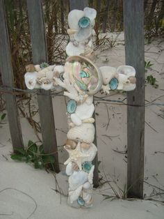 Turquoise Seashell Cross by MyHoneypickles on Etsy