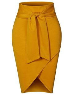 Asymmetrical High Waisted Self Tie Casual Formal Pencil Midi Skirt - Outfits Women Mode Outfits, Chic Outfits, Dress Outfits, Maxi Dresses, Wedding Dresses, Short Dresses, Classy Work Outfits, Formal Dresses, Latest African Fashion Dresses
