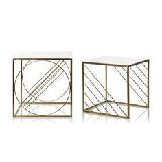 Inspired by the art deco style, these Nesting side tables feature sleek, elegant metal rods electro plated in gold.