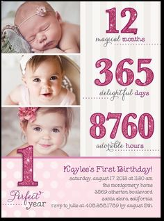 First Birthday Girl Invitation Photo Card Lavender Purple Gold - Birthday invitation for one year baby