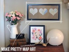 DIY Pretty Map Art DIY home decor wall art