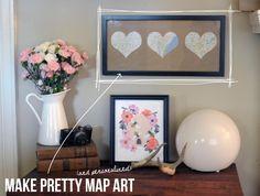 DIY Pretty Map Art DIY home decor wall art