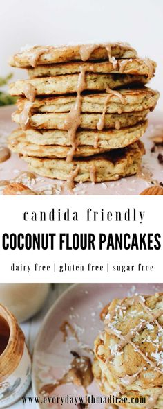 These candida friendly coconut flour pancakes will keep you full all morning long. Perfect pancakes if ing the candida diet. Made with coconut flour! Sugar Free Pancakes, Coconut Flour Pancakes, Coconut Flour Recipes, Sugar Free Diet, Sugar Free Recipes, Keto Recipes, Anti Candida Diet, Candida Diet Recipes, Candida Cleanse