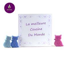 """Coffret Fondants Parfumés """"Meilleure Cousine du Monde"""" 15 Petits chats cire végétale pour brûle parfum"""