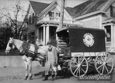 The days of milk deliveries! George Fuller Ames, age 24, delivered milk for the Fred F. Field company (Dutchland Farms) in Brockton Massachusetts just before he joined the ranks in World War 1. More: http://www.ancientfaces.com/photo/george-fuller-ames-1916-ma/350525