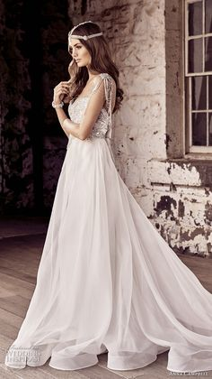 anna campbell 2018 bridal jeweled sleeves strap sweetheart neckline heavily beaded embellishment romantic soft a  line wedding dress open back chapel train (1) sdv -- Anna Campbell 2018 Wedding Dresses