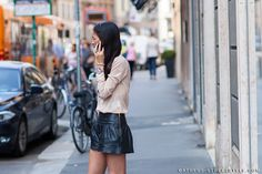 Leather shorts #Milan #StreetStyle