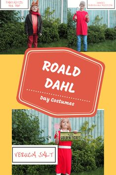 Fancy dress ideas for Roald Dahl Day or World Book Day. Simple easy and cheap dressing up costumes for George's Marvellous Medicine, Fantastic Mr Fox and Verruca Salt from Charlie and the Chocolate Factory. Easy Costumes, Dress Up Costumes, Super Hero Costumes, Costume Ideas, Roald Dahl Day, World Book Day Costumes, Fantastic Mr Fox, Fancy Dress Up, Twin Girls