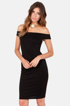 Check it out from Lulus.com! Why settle for the ordinary when you could rock the unrivaled style of the Off the Charts Black Off-the-Shoulder Midi Dress! Off-the-shoulder cut with side darts packs all the sex appeal you need, while a knit body-con cut amps it up to hot new heights. A midi-length hem adds a dose of classic detail. Hidden back zipper. Bodice is lined. Model is wearing a size small. 86% Polyester, 12% Rayon, 2% Spandex. Hand Wash Cold. Made with Love in the U.S.A.
