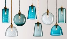 Rothschild & Bickers Pick-n-Mix Colored Glass Pendants, Blue and White, Hertford, UK   Remodelista Kitchen Pendant Lighting, Kitchen Pendants, Glass Pendants, Pendant Lights, Glass Lights, Blue Pendants, Glass Lamps, Pendant Lamps, Island Pendants