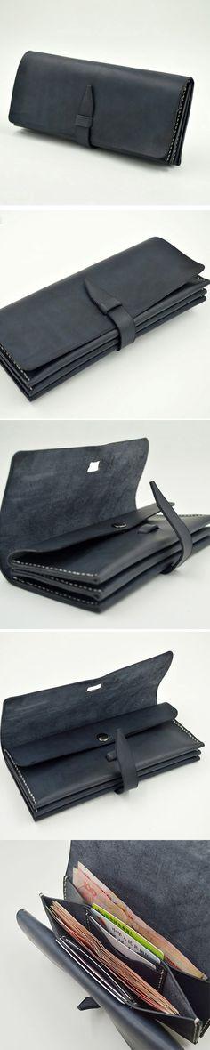 Handmade leather vintage black women long wallet clutch purse wallet