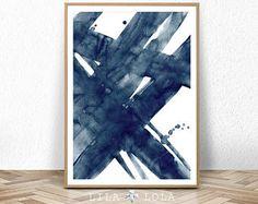 Peinture abstraite, bleu marine, aquarelle Wall Art Print, coup de pinceau, imprimable numérique Télécharger, affiche grand format, encre, minimaliste moderne
