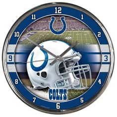 Indianapolis Colts Round Chrome Clock