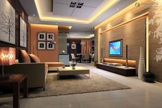 Design Ideas, Fabulous Led Lighting Beautify Wall And Ceiling Of Futuristic Tv Room Designs Completed With Luxury Furniture Sets: Designing Pleasurable Television room For the Home