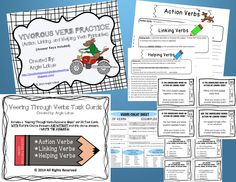 """Verbs are everywhere! This bundle includes two of my favorite grammar products: """"Vigorous Verb Practice"""" and """"Veering Through Verbs Task Cards and Verbs Cheat Sheet."""" Look no further for a way to practice, teach, and/or assess your students' verb knowledge. www.facebook.com/positivelypassionateaboutteaching"""
