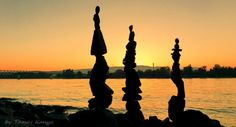 Stone balance art in the sunset from Hungary by tamas kanya