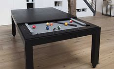 Wood Line Pool Table In Dining Areas