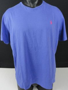 NWT Polo Ralph Lauren L Mens T-Shirt Crew Neck Medium Blue Cotton SS Pink Pony #PoloRalphLauren #BasicTeeCrewNeck