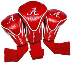 NCAA Alabama Crimson Tide 3 Pack Contour Golf Club Headcover by Team Golf. $29.99. 3 stylish contoured headcovers made of buffalo vinyl and synthetic suede like materials numbered 1,3 and X. The #1 fits all oversized drivers and the nylon sock protects shafts from damage. 3 location team embroidery. Set includes 3 stylish contoured headcovers with innovative materials and sleek design - numbered 1,3 and X.  The #1 fits all oversized drivers and the nylon sock p...