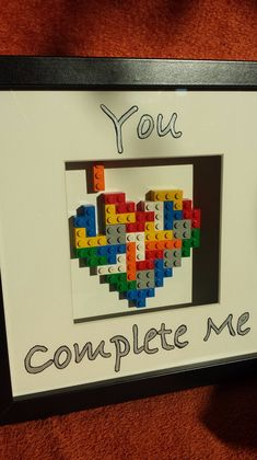 """Picture Frame - """"You Complete Me"""" Lego Te . Bilderrahmen – """"You Complete Me"""" Lego Te… Picture Frames – """"You Complete Me"""" Lego Tetris Heart Picture Frame – a unique product by francesblue on DaWanda Diy Crafts For Gifts, Crafts For Girls, Gifts For Kids, Photo Lego, Diy Lego, You Complete Me, Heart Pictures, Diy Gifts For Boyfriend, Diy Tattoo"""
