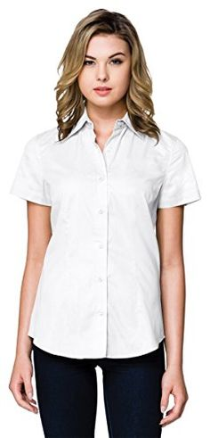Tri-Mountain WL700SS Womens 3.8 Oz Short Sleeve Woven Shirt - White - M >>> Learn more by visiting the image link. #WomensTopsTees