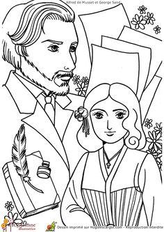 Une illustration des amoureux Alfred Musset et George Sand  à colorier