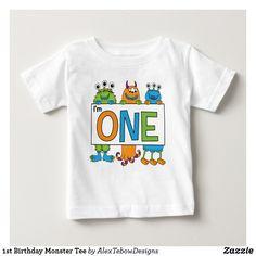1st Birthday Monster Tee, orange, blue, and green - Alex Tebow Designs