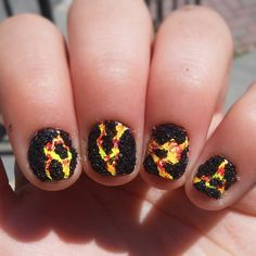 Lava nails totally inspired by the great @dutchnailss!!! Tutorial up NOW on my youtube!!! #lookdutchnailss