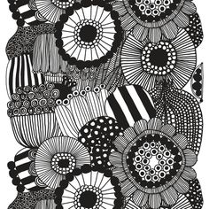 Marimekko's Siirtolapuutarha fabric features Maija Louekari's cheerful pattern that depicts beautiful summer flowers growing in allotment gardens. The monochrome fabric is made of heavyweight cotton, and its repeat measures 98 cm.